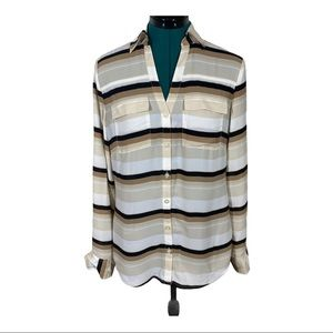 NY&CO Stripped White and Tan button down shirt NWT